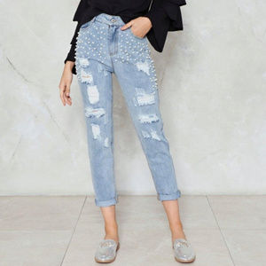 Nasty Gal | Beaded Distressed High Waist Jeans